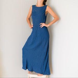 Vintage Linen Gingham Maxi Dress